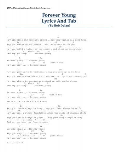 Forever Young Lyrics And Tab Kirbys Covers For Country
