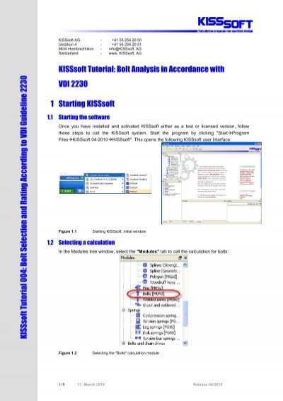 KISSsoft Tutorial: Bolt Analysis in Accordance with VDI
