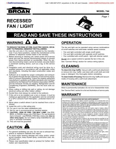 Recessed fan light read and save these instructions recessed fan light read and save these instructions kitchensource sciox Gallery