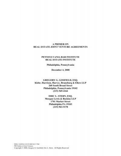 A Primer On Real Estate Joint Venture Agreements Klehr Harrison