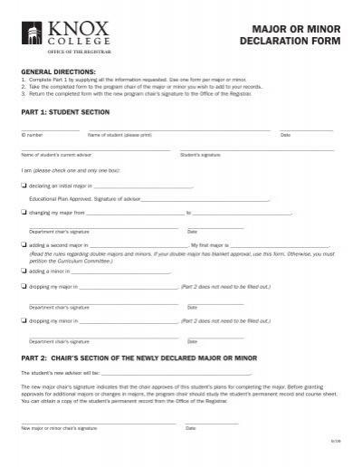 MAJOR OR MINOR DECLARATION FORM - Knox College
