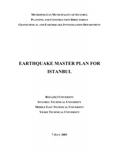 Earthquake Master Plan For Istanbul Pdf