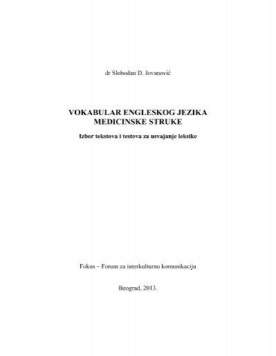 Vokabular Engleskog Jezika Medicinske Struke Komunikacija I