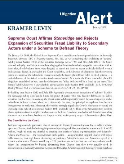 kramer levin naftalis & frankel llp Litigation Alert - Kramer Levin Naftalis