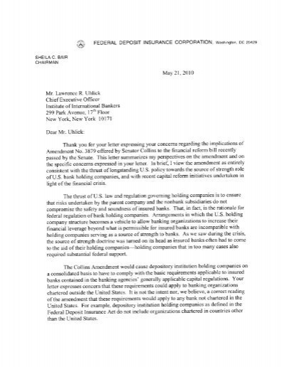 Executive Offcer Thank you for your letter expressing your ...