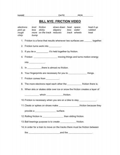 Bill nye cells video worksheet answers