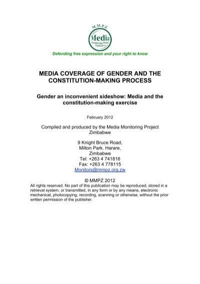 Media Coverage Of Gender And The Constitution Making Kubatana Zimbabwe lancaster house constitution