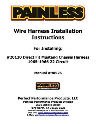 Wire Harness Installation Instructions For Installing