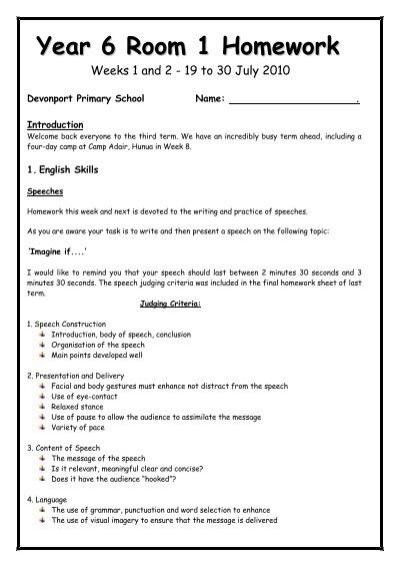 Year 6 Homework - Devonport Primary School
