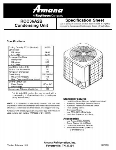 RCC36A2B Condensing Unit Specification Sheet