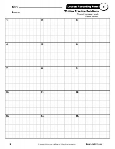 written practice solutions lesson recording form b