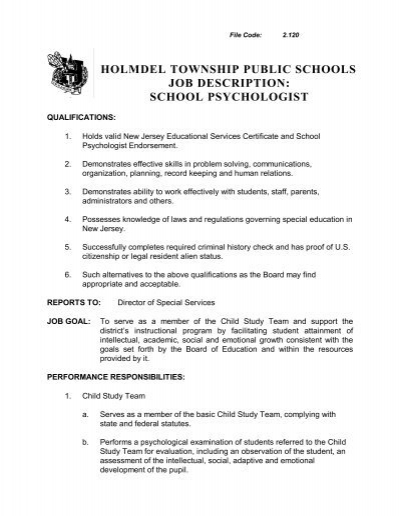 Holmdel Township Public Schools Job Description School Psychologist