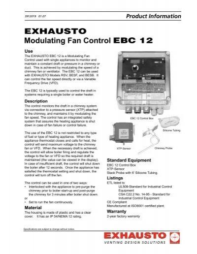 Exhausto Modulating Fan Control Ebc 12 Enervex