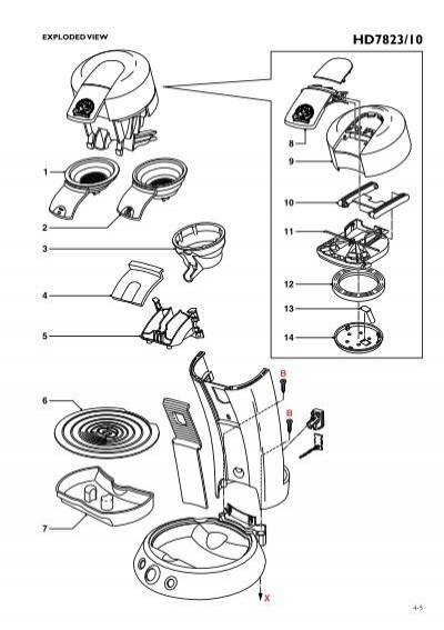 Coffee Maker Exploded : EXPLODED VIEW HD7