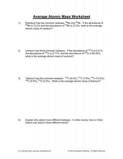 Atomic Mass Worksheet - Synhoff