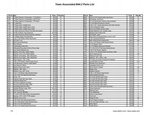 Team Associated B44 4 U. T4.2 Casquillos manguetas SC10.2 AS9647