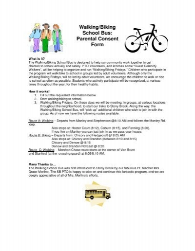 Walkingbiking school bus parental consent form thecheapjerseys Image collections