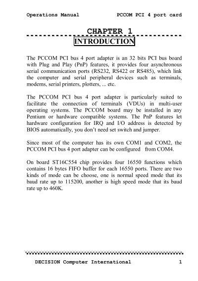 DECISION PCCOM PCI 4 PORT WINDOWS 7 DRIVER