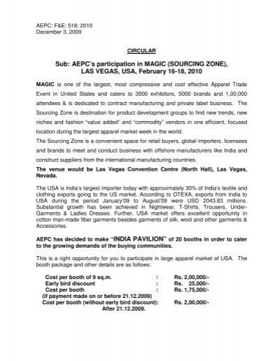 Sub: AEPC's participation in MAGIC (SOURCING ZONE), LAS