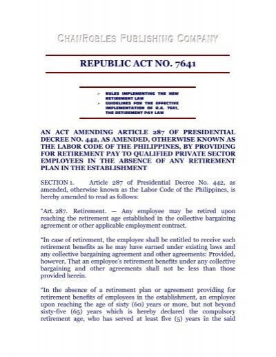 Republic Act No 7641 Chan Robles And Associates Law Firm