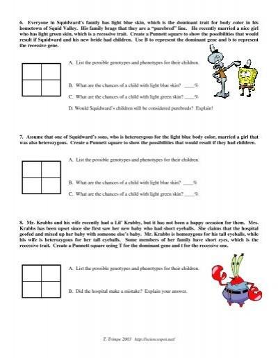 Worksheets Spongebob Genetics Worksheet 6 everyone in squidward