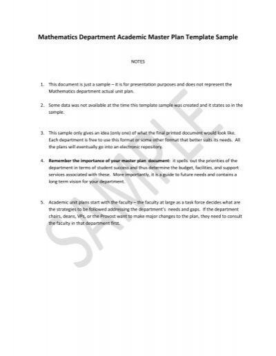 mathematics department academic master plan template sample