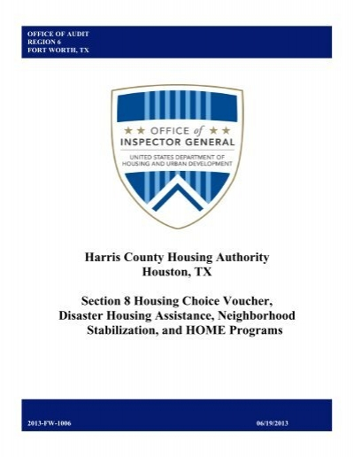 Harris County Housing Authority Houston, TX Section 8     - Hud-Oig