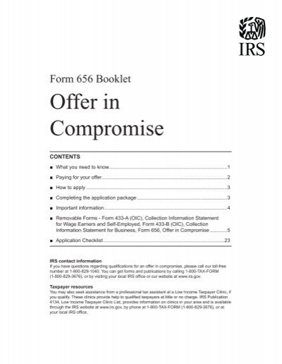Form 656 B Offer In Compromise Booklet Internal Revenue Service