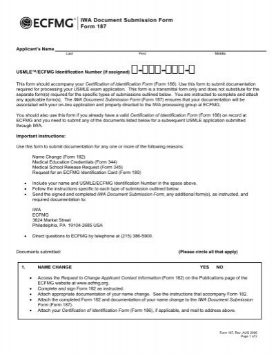 IWA Document Submission Form Form 187
