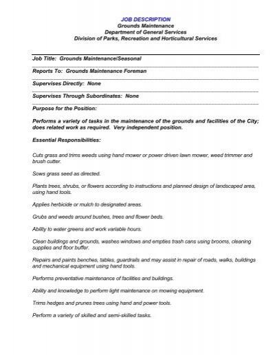 JOB DESCRIPTION TITLE Grounds Maintenance OperativeSkilled – Maintenance Job Description
