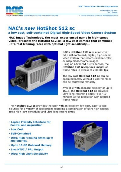 Nac\'s New Hotshot 512 Sc - COSYCO Gmbh