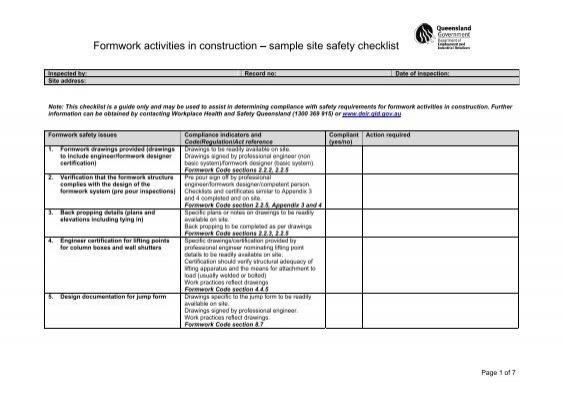 Formwork Activities In Construction