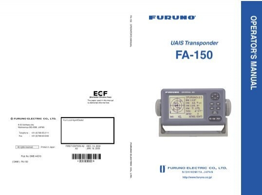 uais transponder fa 150 rh yumpu com Example User Guide furuno fa-150 operator manual