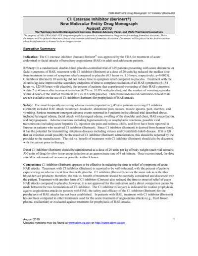C1 Inhibitor (Berinert), Drug Monograph - Pharmacy Benefits ...