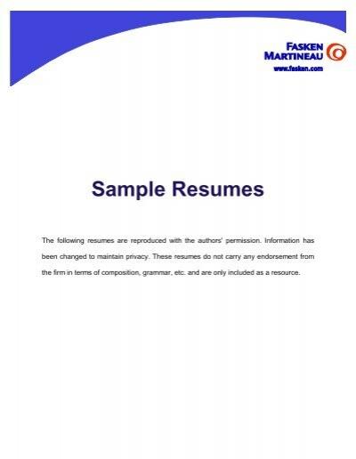 Sample Resumes Fasken Martineau