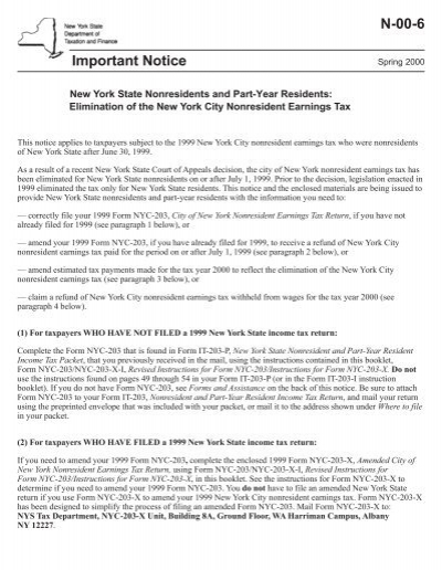 N 00 6 New York State Department Of Taxation And Finance