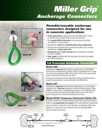"""3//4/"""" Miller 496 Grip Concrete Anchorage Connector Fall Protection"""