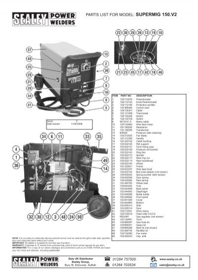parts list for model  supermig 150 v2