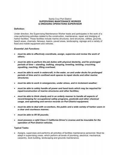 Full Job Description For Dredging Operations Supervisor