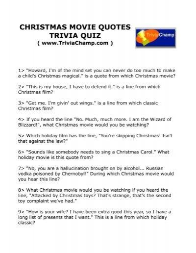 Movie Quote Trivia Classy CHRISTMAS MOVIE QUOTES TRIVIA QUIZ Trivia Champ