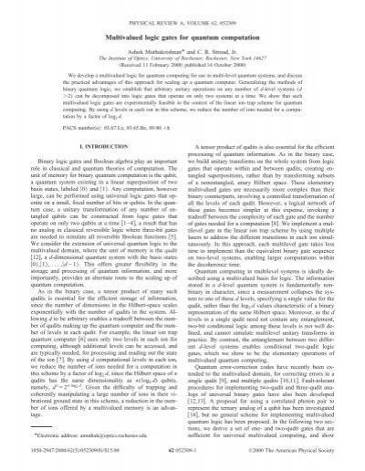 Multivalued Logic Gates For Quantum Computation