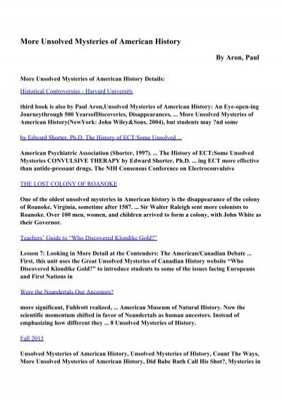 Download More Unsolved Mysteries of American History pdf