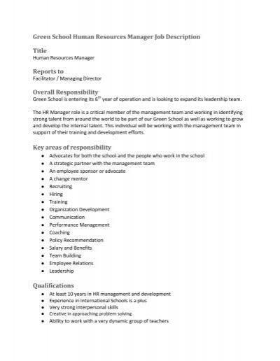 Green School Human Resources Manager Job Description Title – Hr Director Job Description