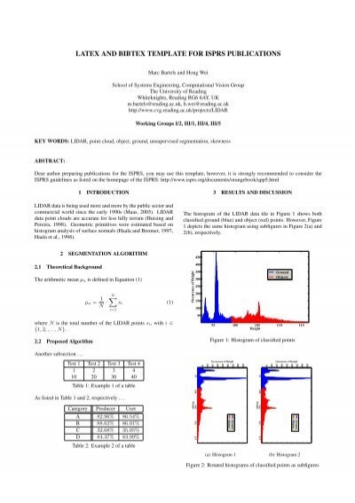Latex and bibtex template for isprs publications pia11 ccuart Choice Image