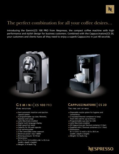 introducing the gemini cs 100 pro from nespresso the. Black Bedroom Furniture Sets. Home Design Ideas