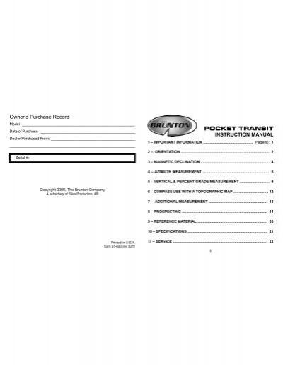 brunton pocket transit user s instruction manual rh yumpu com brunton user manual Manuals in PDF
