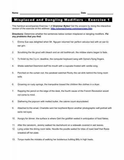 Misplaced And Dangling Modifiers A Exercise 1 Grammar Bytes