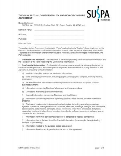 Simr1226B 2-Way Mutual Confidentiality Agreement - Suspa.Com