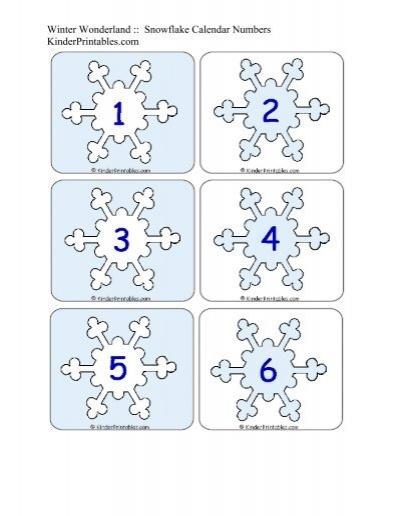Snowflake Calendar Printables : Snowflake calendar numbers kinder printables