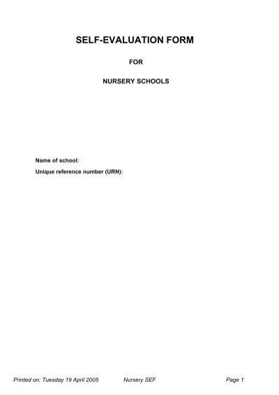 Blank Self Evaluation Form For Nursery Schools   ERiding